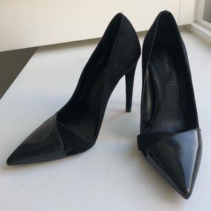 Zara mixed media pointed toe heel